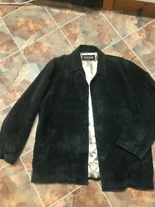PIERRE CARDIN mens black suede button front jacket VGC -gold satin lining Large