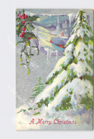 PPC POSTCARD MERRY CHRISTMAS SNOW COVERED TREE HOLLY EMBOSSED