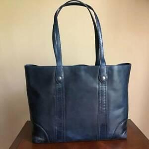 Frye Melissa Italian Leather Shoulder Bag Tote Shopper Handbag Ocean Blue NWT