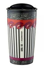 Starbucks Anna Sui 2015 Designer Roses Black White Striped Mug Tumbler 12 OZ