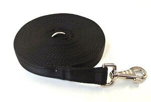 Horse Lunge Line Large Dog Training Lead 30ft 9m Long 25mm Cushion Webbing Black