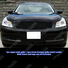 Fits 2007-2008 Infiniti G35 Sedan Black Billet Grille Grill Combo Insert