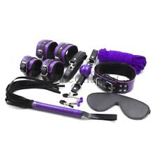 8Pcs Bed Restraint Set Rope Gag Cuffs Whip Collar Blindfold Cosplay Bondage Toy