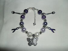 Fibromyalgia Fibro butterfly, spoons and awareness ribbon charm bracelet