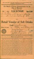 Soft Drink License for Retail Vendor Worcester, Massachusetts Prohibition 1930