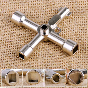 1PC 4-Way Multifunctional Utility Cross Wrench Cabinet Key Round Square NEW