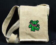 Hemp Purse Grateful Dead Dancing Bear Green Hippie Boho Crossbody Bag New