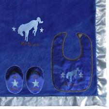 Lil' Bronc Boxed Baby Gift Set Bib Booties Blanket Bright Blue 3 Piece Set Boys