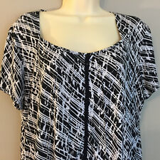 Susan Lawrence Womens Knit Top Career Polyester Blend Cap Sleeve Black/White 1X