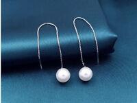 Luxus Perlen lange Ohrringe Ohrhänger Perle Kette 925 silber