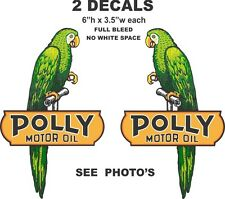 2 Polly Motor Oil Left and Right Facing Vinyl Decals