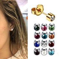 Surgical Steel Ears Stud Earrings Silver Gold Birthstone Gemstone Ear Cartilage