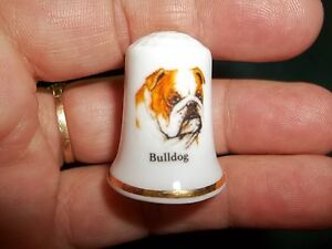 vintage ENGLISH BULLDOG Dog Collectible ceramic Thimble figurine Lim.Edition