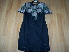 Size XL X Large Vintage Scala Beaded Pure Silk Coutoure Cocktail Dress NWT Tags