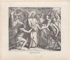 Gravure ancienne religieuse XIXème Judas fait saisir Jésus