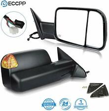 Towing Mirrors fit 2009-16 Ram 1500 Pickup Signal Lights Pair Power Heated (M2)