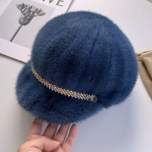 Womens Real Mink Fur Hat Princess Hat Peaked Cap Knight Headgear Dicer Beret