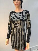 BNWT Forever Unique Black Beaded Dress Size 6UK Long Sleeve Lined Stretch