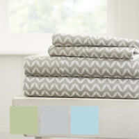 Hotel Collection Premium Puffed Chevron Pattern 4 Piece Bed Sheet Set