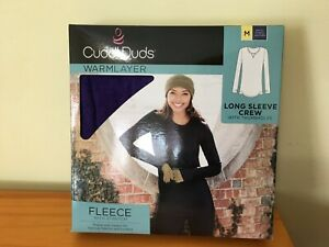 New Cuddl Duds Women's Fleece Stretch Long sleeve Crew Top Warm Layer Purple