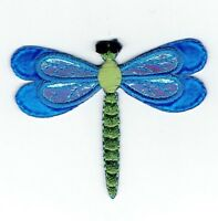 Large - Blue Dragonfly - 3D Layered Wings - Iron On Applique/Embroidered Patch