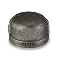 "1 1/2"" BLACK MALLEABLE IRON PIPE FITTINGS CAP - P6658"