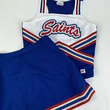 "Saints Cheerleader Uniform Outfit Costume 34"" Top 26 Skirt Metallic Red Wht Blue"