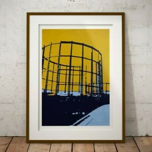 GAS TOWERS EAST LONDON PRINT REGENT'S CANAL HACKNEY GASOMETERS POSTER A1 A2 A3