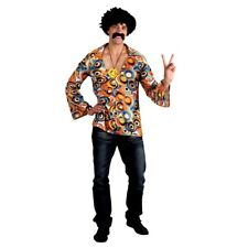 Mens 60s Groovy Hippie Hippy Shirt Festival Fancy Dress Costume Extra Large