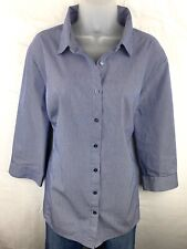 Worthington 2X Button Up Women's Shirt Long Sleeve Blue & White Pinstripes