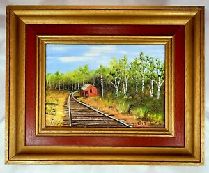 """Artist """"Giles T Kiehl"""" Original Oil Painting Signed 2 Times/Station in Vermont"""