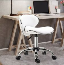 Beauty Salon Rolling Technician Stool Chair Low Back White RRP £56