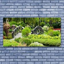Impression sur verre acrylique Image Tableau 140x70 Nature Pont Jardin Botanique