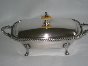 """VINTAGE DOUBLE SERVING """"DISH"""" WITH LID 1956 GIFT TWISTED ROPE DESIGN"""