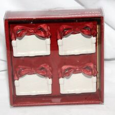 NIKKO HOLIDAY HEARTH 3D RIBBON PORCELAIN PLACE CARD HOLDERS SET OF 4