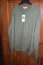 NWT Calvin Klein green Pima Cotton V-Neck Sweater XL