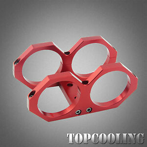 60MM Dual Double Fuel Pump Mounting Bracket Clamp cradle In-line Red AU STOCK