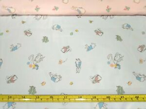 Peter Rabbit Combed Cotton Fabric (Blue), 50x90cm or Metre (Brand New)