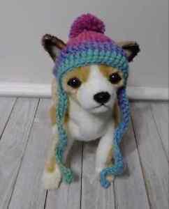 crochet pet cat dog hat pom pom handmade ombre swirl  xs small  breed