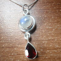 Faceted Garnet and Moonstone 925 Sterling Silver Pendant Corona Sun Jewelry