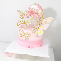 5Pcs Butterflies Cake Toppers Happy Birthday Cupcake Baby Holiday Party Decor