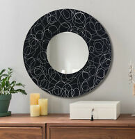 Round Abstract Wall Mirror, Black & Silver Modern Metal Wall Art - Jon Allen