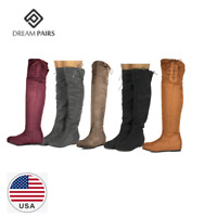 DREAM PAIRS Women's Over The Knee Thigh High Stretch Suede Autumn Winter Boots