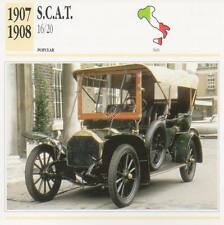 1907-1908 SCAT S.C.A.T. 16/20 Classic Car Photograph / Information Maxi Card