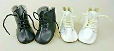 Glorex 2 Paar Puppenstiefel boots ca 7 cm weiß + schwarz Schweizer Stoffpuppen