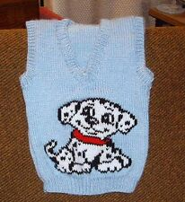 BABY DALMATION PUPPY DOG  VEST NEW HAND KNITTED SIZE 2-