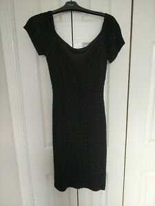 Ladies Black Rouched Cocktail Dress Size 10 From River Island