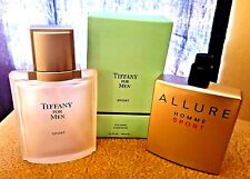 2 Chanel Allure Homme Sport Tiffany Sport Men's EMPTY Cologne Bottles + Box 3.4