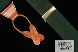 Thurston London Bretelle IN Verde Cacciatore Chiodati Seta Tonalità Hardware