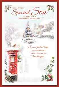 SPECIAL SON CHRISTMAS CARD ~ TRADITIONAL DESIGN QUALITY CARD & LOVELY VERSE